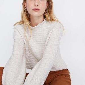 NEW Madewell Ruffle Neck Pullover Sweater